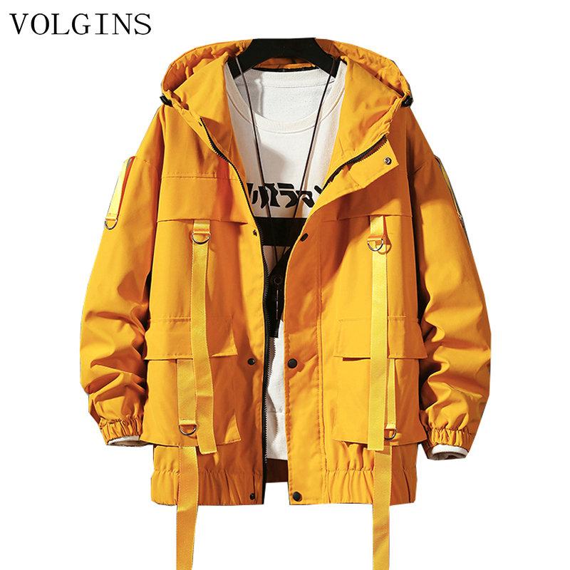 Dropshipping Streetwear Spring Man Safari Style Jacket Mens Harajuku Black Windbreaker Jackets Male Pockets Oversize Jacket