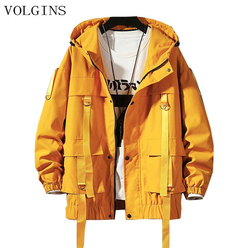 Streetwear Spring Autumn Man Safari Style  Jacket Mens Harajuku Black Windbreaker Jackets Male Loose Pockets Oversize Jacket