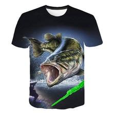 Детская футболка с рыбкой футболка с 3d принтом Забавные футболки футболка в стиле хип-хоп для мальчиков и девочек одежда с рыбаком, рыболовом, металлом повседневные топы
