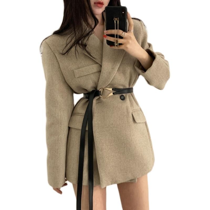 Office Ladies  Blazer with belt Long Sleeve  Suit Coat Jacket Women Spring Autumn  blazers Female