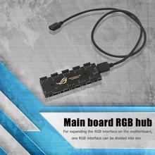 האם Sata כוח Suppply מתאם מאוורר HUB ספליטר 1 כדי 10 12V 4 פינים סנכרון הארכת כבל RGB כוח בקר עבור מחשב