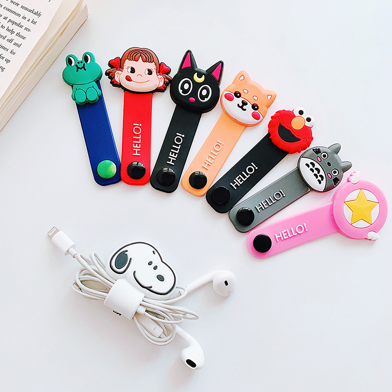 Cartoon Cable Organizer Bobbin Winder Protector Wire Cord Management Marker Holder Cover For Earphone IPhone Sansung USB