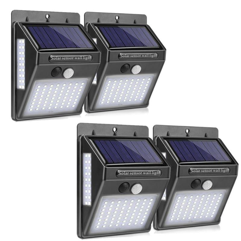 100 LED Solar Light 4pcs Outdoor Garden Decoration Lights Waterproof Path Solar Wall Light PIR Motion Sensor Solar Powered Lamp