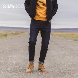 Simwood 2021 Winter Fleece Voering Slim Fit Tapered Jeans Mannen Milieuvriendelijk Laser Water Gewassen Denim Broek SK130131