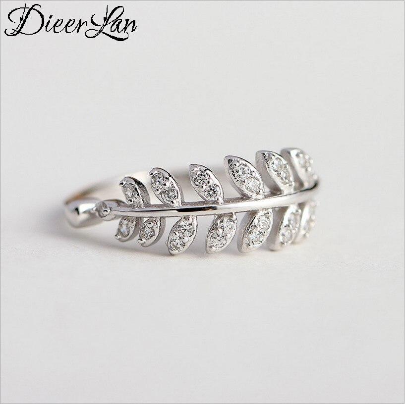DIEERLAN Ретро Винтажные Ювелирные изделия из стерлингового серебра 925 пробы с кристаллами в форме листа кольца для мужчин и женщин большие отк...