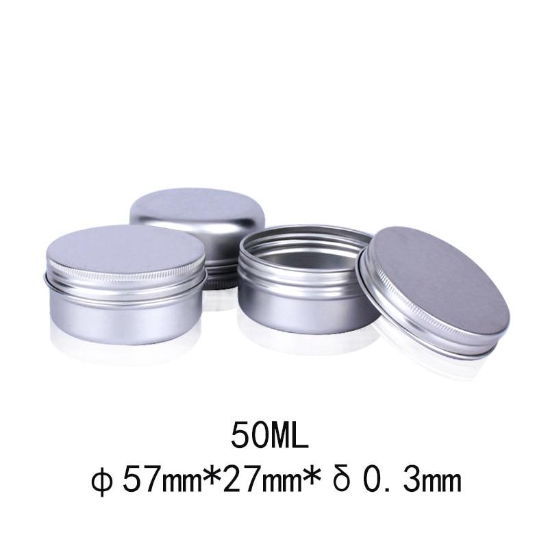 50pcs 50g Aluminum Tin Jar Metal Containers Lip Balm Container 50ml Empty Candle Jars Cream Pot Box