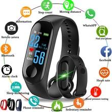 M3 スマートカラー画面運動心拍血圧検出フィットネス歩数計は互換 Android と IOS
