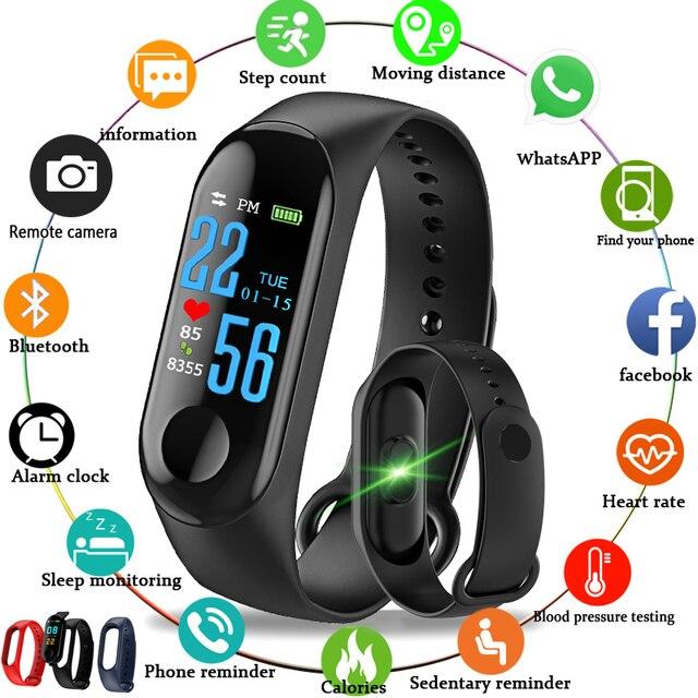 M3 الذكية شاشة ملونة ممارسة سوار معدل ضربات القلب ضغط الدم كشف اللياقة البدنية عداد الخطى متوافق مع أندرويد و IOS