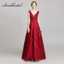 New Arrival Stunning Burgundy Celebrity Dresses 2019 Sleeveless A-Line Luxury Beading Evening Gowns Long Real Photo L5487(China)
