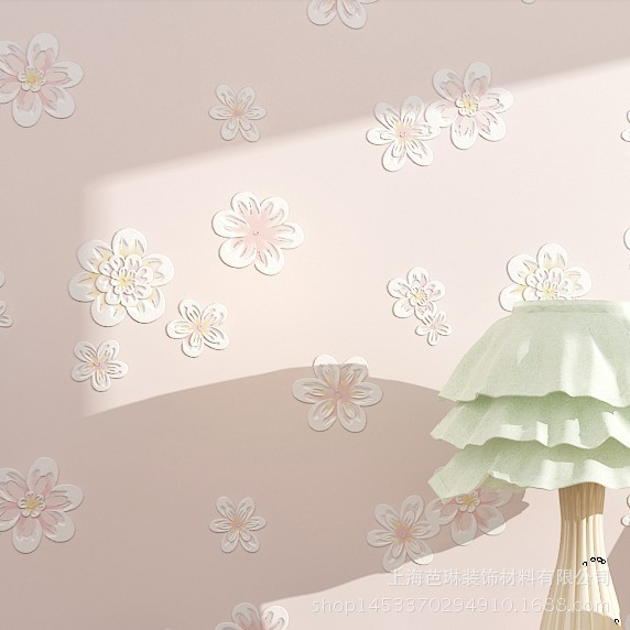 Export 3D Warm Marriage House Living Room Bedroom Non-woven Wallpaper Fresh Simple Pastoral Style Small Flower Wallpaper