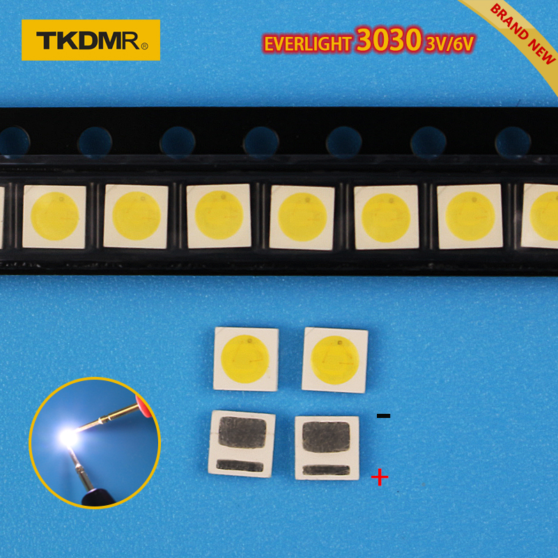 TKDMR Led Tv Backlight 1.2W 3030 3V 6V Kit Electronique Led Led For Lcd Tv Repair Assorted Pack Kit Cool White Free Shipping