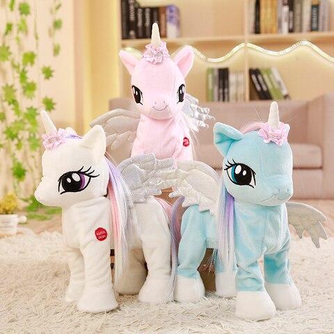 engracado brinquedos unicornio brinquedo de pelucia com a linha curta eletrica unicornio bicho de pelucia