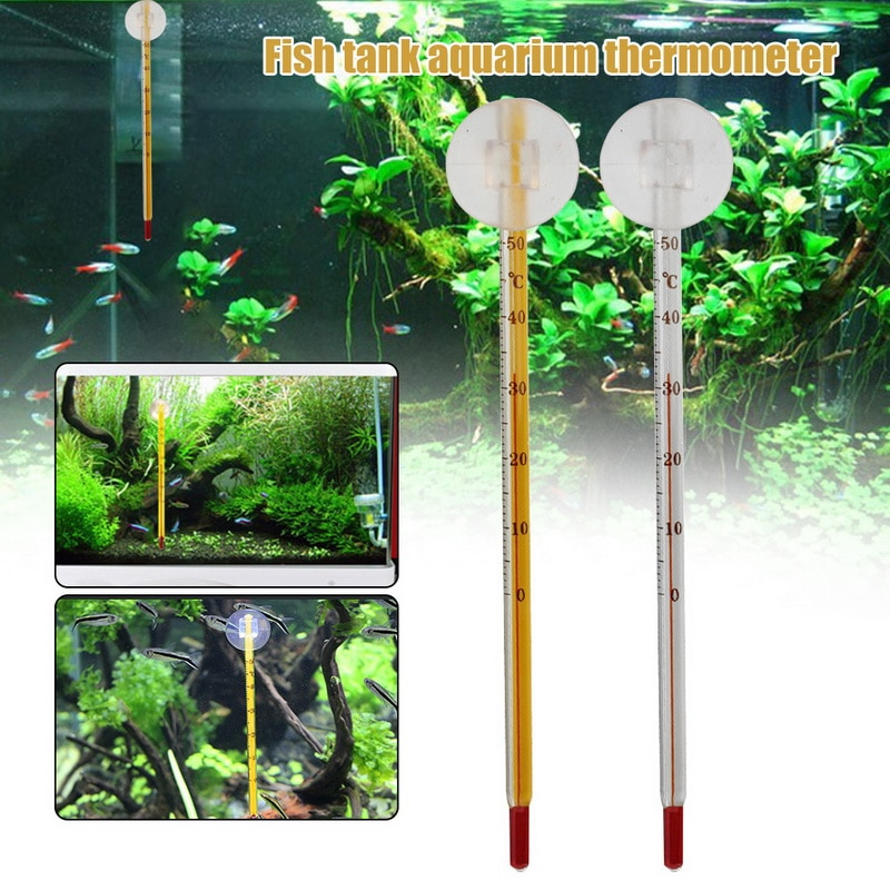 new Pet Supplies Fish Tank Submersible Household Temperature Test Equipment Glass Tube Suction Cup Aquarium Thermometer