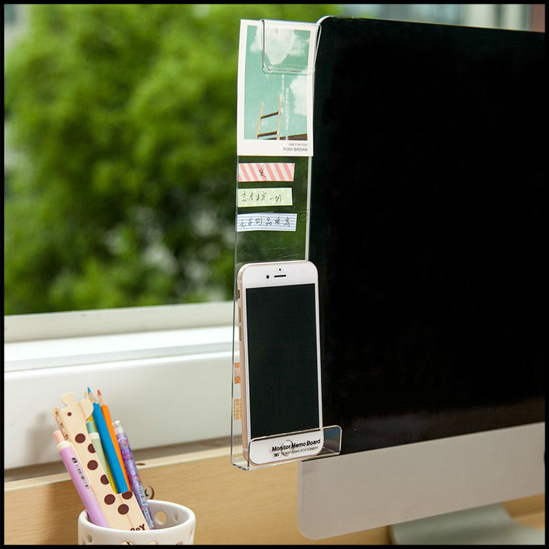 New Computer Display Screen Sticker Acrylic Adhesive Sticky Notes With Charging Hole Phone Holder Bookmark Notes Message Board