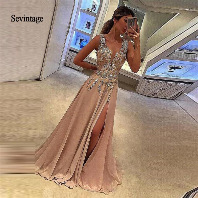 Sevintage Sexy Slit Front Chiffon Long Prom Dresses Deep V-neck Lace Appliques Evening Dress Custom Made Vestidos De Gala