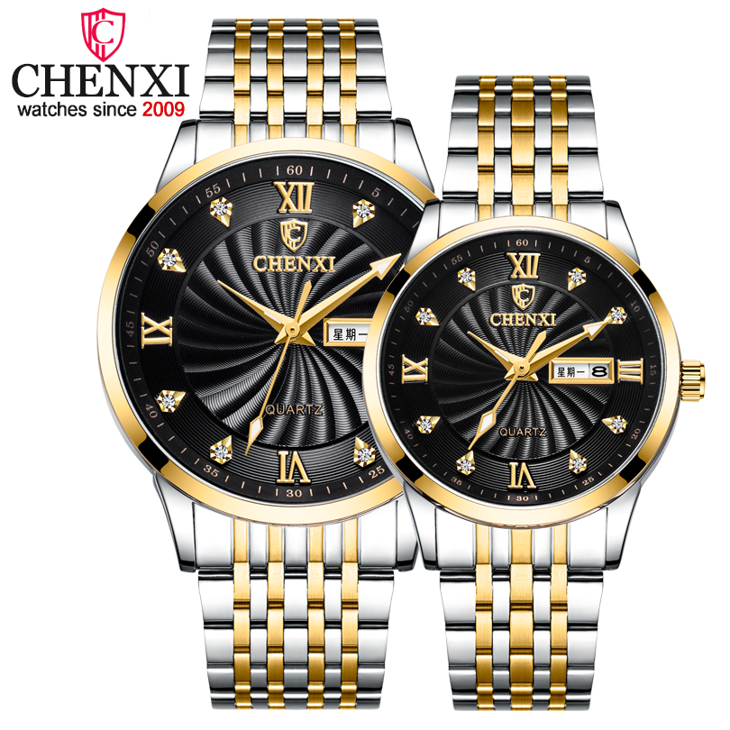 2019 New Couple Watches Luxury Brand CHENXI Men Quartz Watches For Women's Golden Full Steel Waterproof Clock Dress Lady Watch