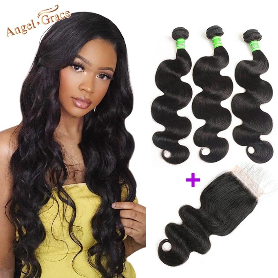 Anjo graça cabelo onda do corpo pacotes com fechamento remy cabelo humano 3 pacotes com fechamento tecer cabelo brasileiro pacotes com fechamento