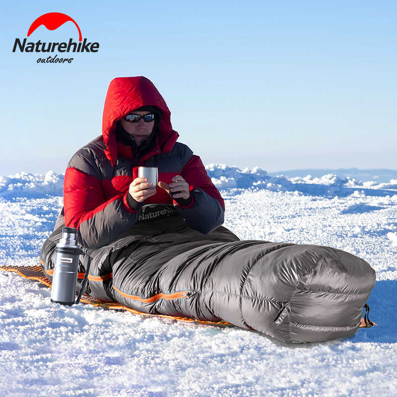 Naturehike ulg400 saco de dormir ultraleve ganso compacto para baixo acampamento saco de dormir múmia impermeável inverno ao ar livre saco de dormir