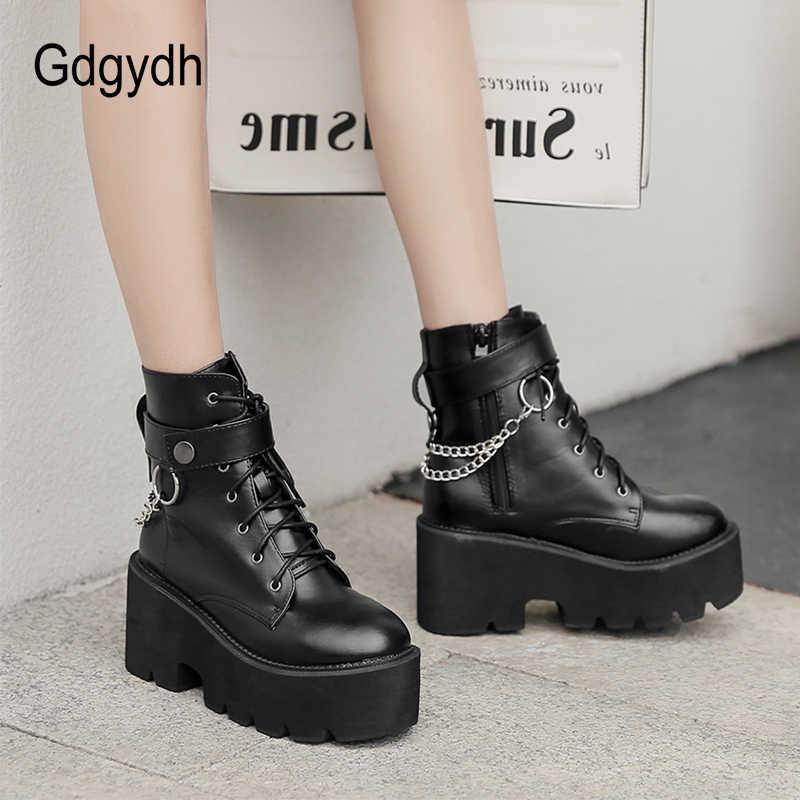 Gdgydh Neue Sexy Kette Frauen Leder Herbst Stiefel Block Ferse Gothic Schwarz Punk Stil Plattform Schuhe Weibliche Schuhe Hohe Qualität