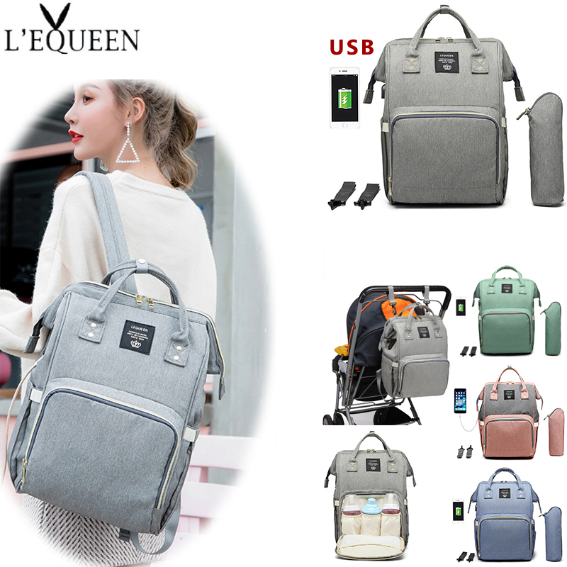 LEQUEEN Mummy Maternity Bags Large Capacity Diaper Bag Waterproof Travel Backpack Nursing Bag Baby Bags With USB Interface