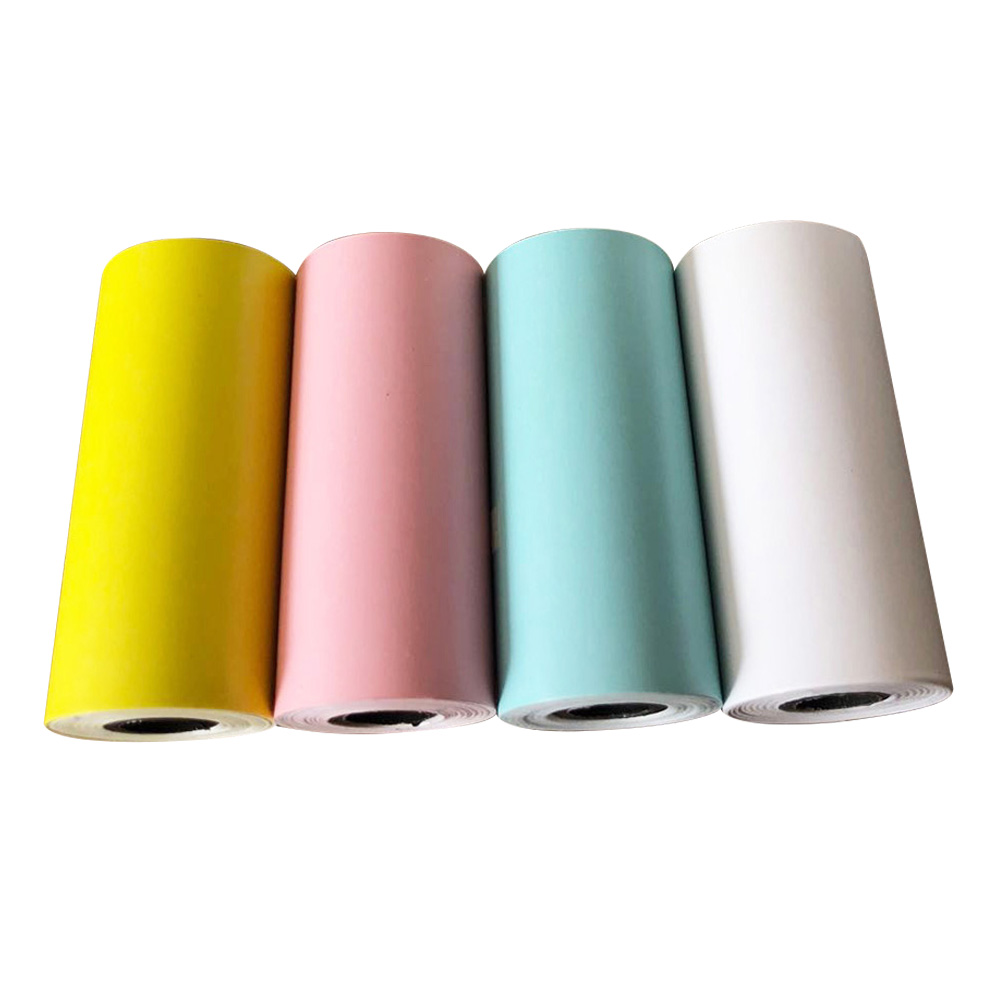 4 Pcs/set Paste Bill Receipt Portable Printing Paper Square Accessories Self Adhesive Thermal Sticker Continuous Gift Roll Photo