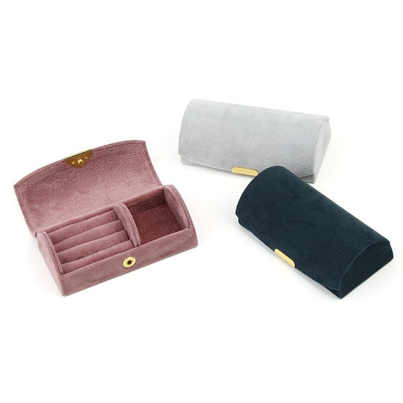 3 Color Arched Jewelry Box Beaded Velvet Travel Portable Jewelry Storage Bag Storage Box