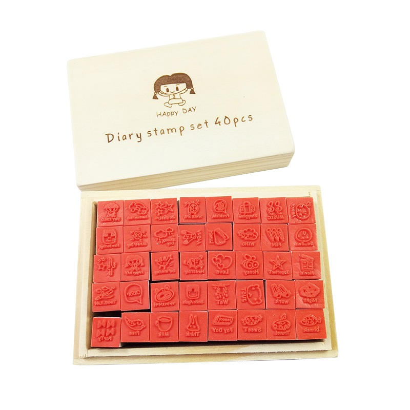 40 Pcs/set Kawaii Diary Pattern Wooden Rubber Stamp Set Craft Stamps For Scrapbooking
