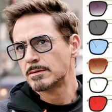 LRDNSD Men Vintage Steampunk Sunglasses Brand Designer Tony Stark Iron Man Goggles Retro Sun Glasses UV400