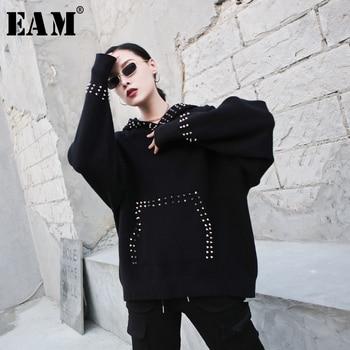 [EAM] Loose Fit Rivet Split Oversized Sweatshirt New Round Neck Long Sleeve Women Big Size Fashion Tide Spring Autumn 2020 1M682