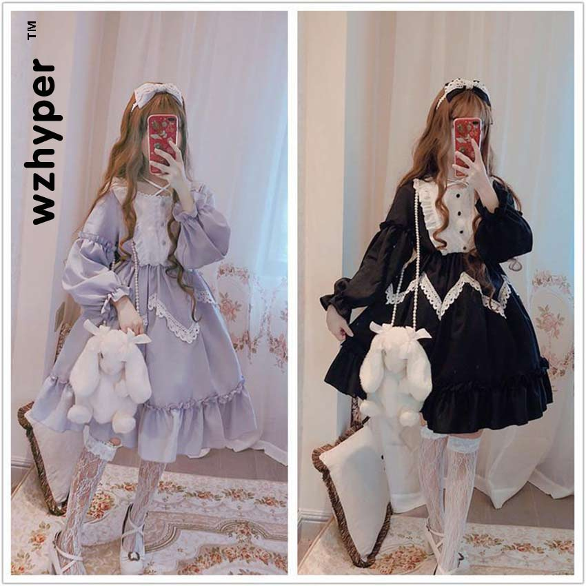 New Arrival 2 Colors Gothic Lolita Dress Soft Sisiter Lace Black Dress Women Princess Dress Girl Halloween Costume