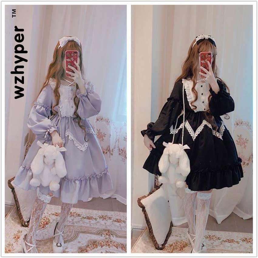 New Arrival 2 Colors Gothic Lolita Dress Soft Sisiter Lace Black Dress Women Princess Dress Girl Halloween Costume
