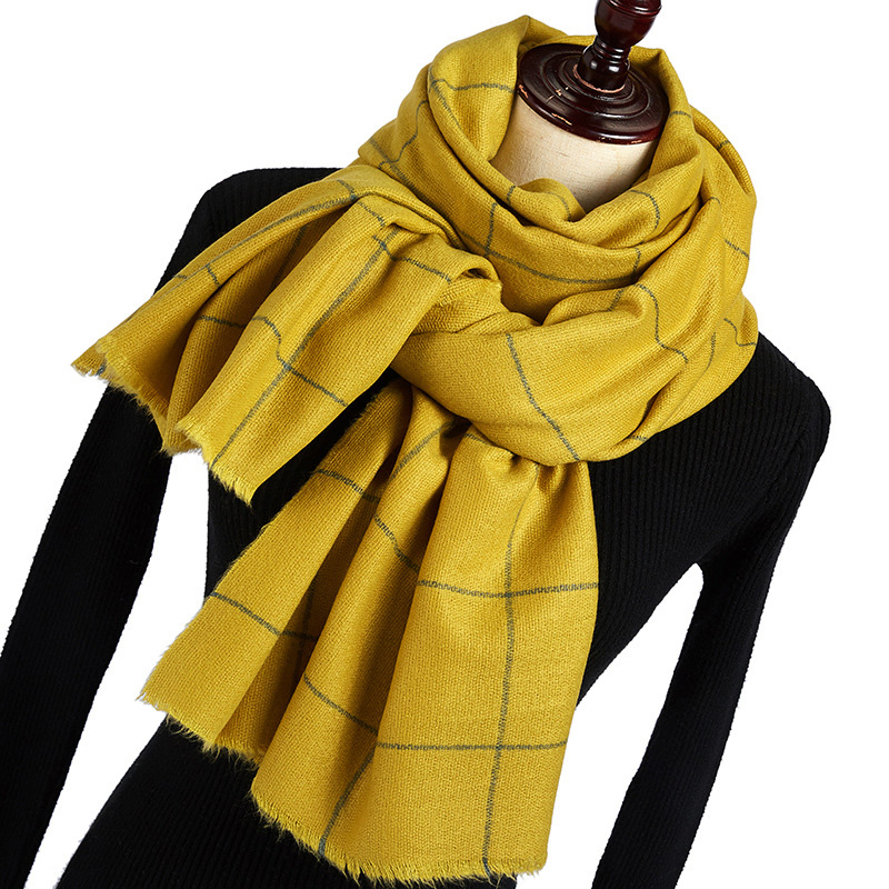 2021 New Autumn Winter Black Red Green Yellow Buffalo Tartan Plaid Scarf Women Men Thick Fleece Wool Warm Scarves Poncho Cape