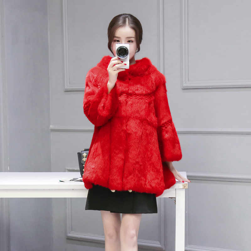 Real Womens Rabbit Fur Coat Women's Stand Collar Natural Rabbit Fur Jacket Women Warm Winter Coats Abrigo Mujer WXF424 S