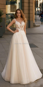 Image 3 - Elegant Champagne Wedding Dresses Boho 2020 A Line Illusion V Neck Applique Flowers Sleeveless Floor Length Tulle Bridal Gowns