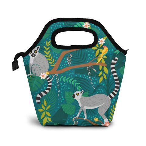 Lêmures em Uma Bolsa de Almoço Bolsas de Piquenique Caixa de Comida para Mulher Selva Caixas Isolado Portátil