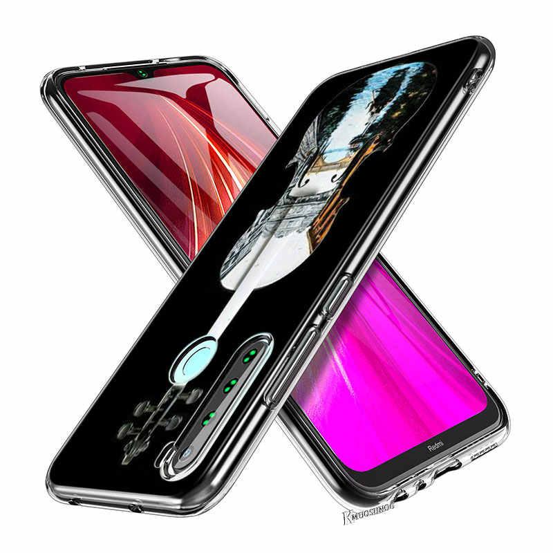 Silikonowa przezroczysta pokrywa dla Redmi Note 8 8Pro gitara basowa struny muzyka dla Xiaomi Redmi uwaga 7 6 5 Pro 5A 4X4 etui na telefony