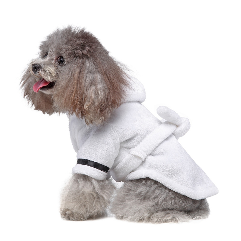 Pet Bathrob Dog Clothes for Winter Pajamas Sleeping Clothes Soft Bath Drying Towel Clothes for Puppy Winter