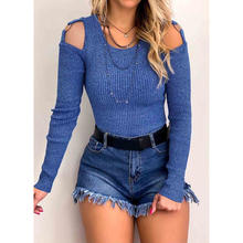 LOOZYKIT 2019 Fashion Women Autumn Sexy T-shirt Knitted Long Sleeve Tops Female Clothing Off-The-Shoulder Womens Slim Streetwear