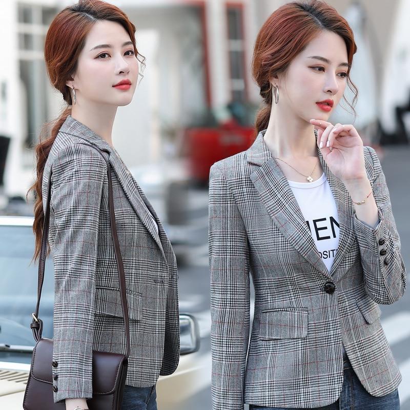 Fashion women's slim fit plaid suit jacket 2020 Korean version of the new autumn casual ladies blazer Elegant office suit