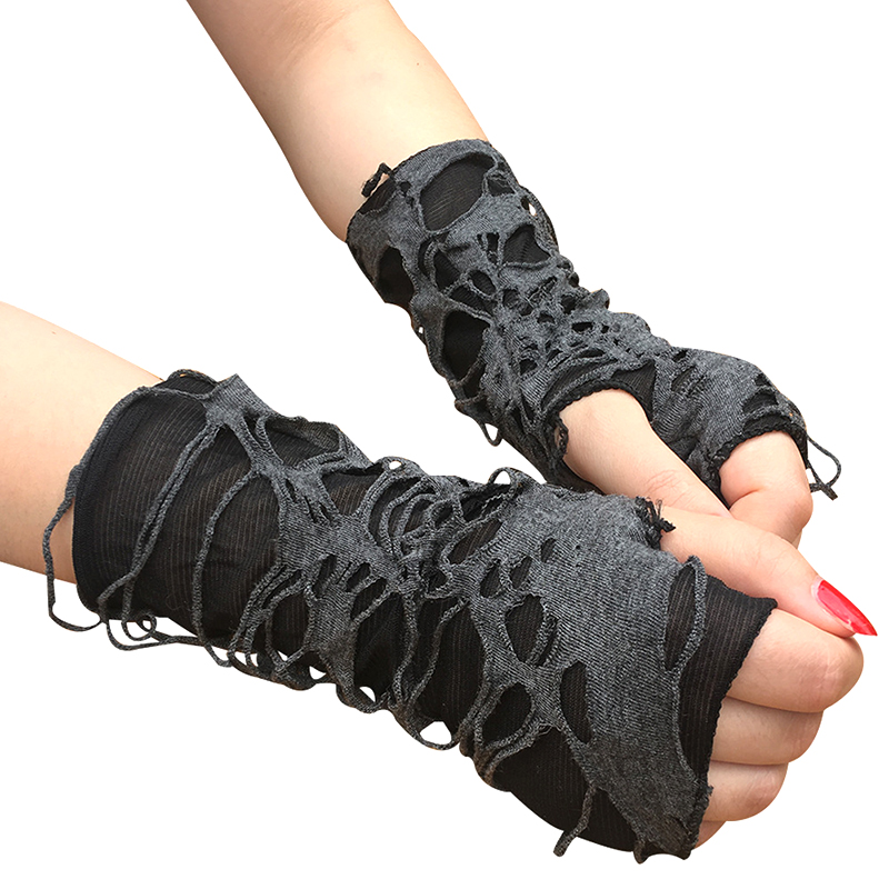 1 Pair Gothic Arm Warmer Fingerless Beggar Punk Halloween Gloves Hole Cosplay