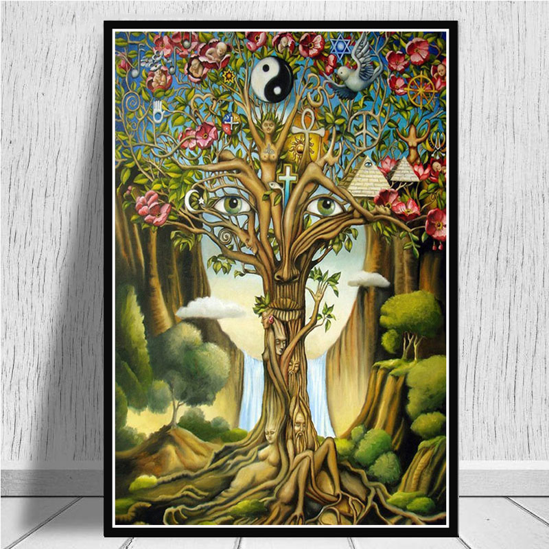 Alex Grey Psychedelic Trippy Tree Life Modular Pictures Modern Home Decoration Wall Art Canvas Prints Painting Bedroom Poster