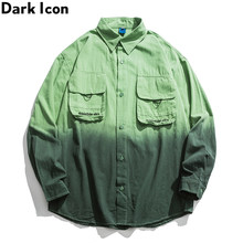 Dark Icon Tie Dyeing Hip Hop Shirt Men Women Turn-down Collar Oversized Men's Shirt Streetwear Shirts Man Clothing(China)