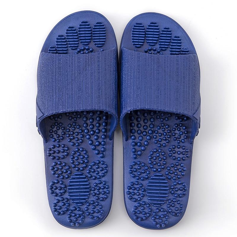 Летние тапочки; коллекция года; домашняя Нескользящая Массажная обувь; унисекс; однотонные тапочки с мягкой подошвой; домашние сандалии; мужские массажные тапочки - Цвет: Blue