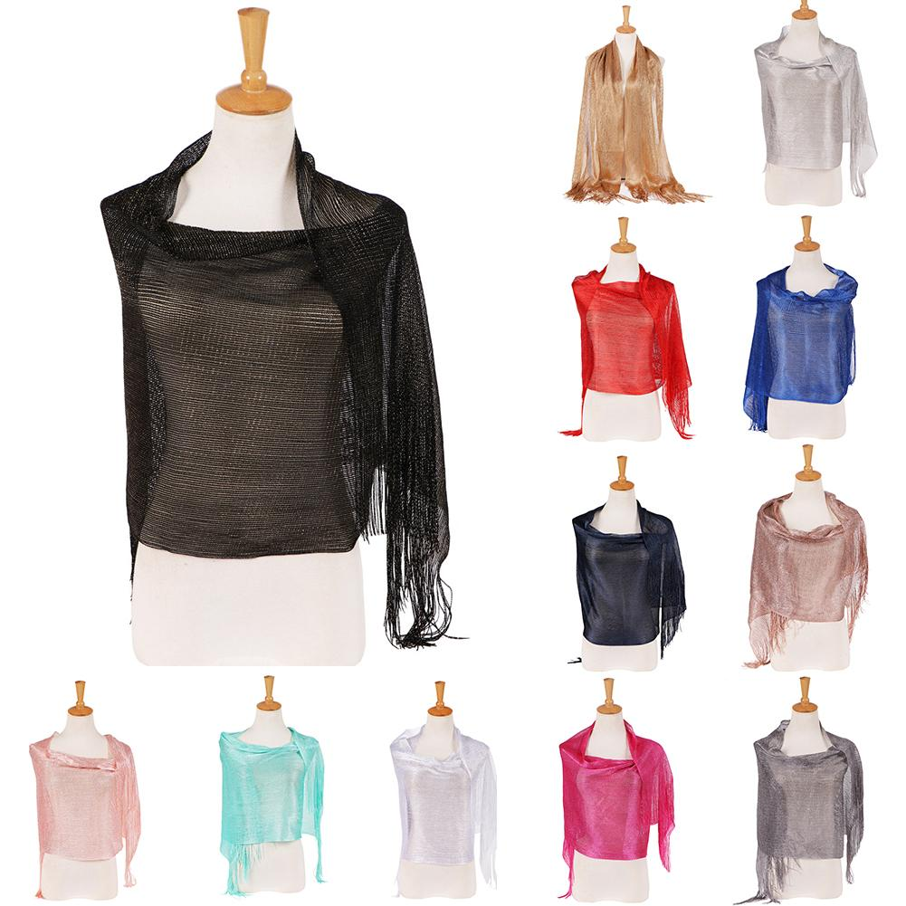 Fashion Glossy Solid Color Tassels Soft Banquet Evening Party Women Shawl Scarf Wrap 2020