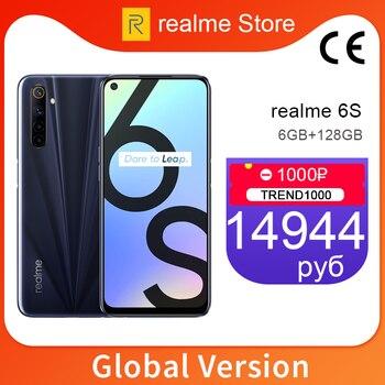Перейти на Алиэкспресс и купить Глобальная версия realme 6s 6GB 128GB мобильный телефон 6,5 ''90Hz экран 48MP AI Quad камера 4300mAh 30W Flash Charge телефон NFC