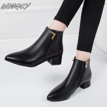 Trend New Women's Fashion Smooth Surface Leisure Solid Pointed Toe Med Heels Ankle Boots