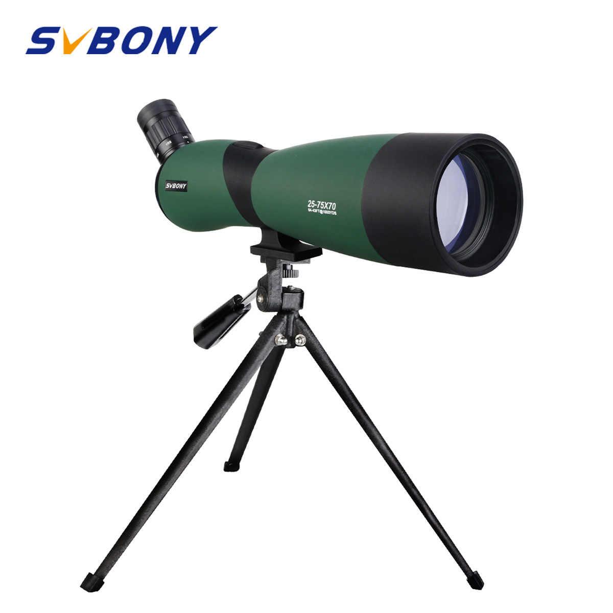 SVBONY SV403 تلسكوب التكبير 20-60X60/25-75x70mm نطاق كشف متعددة المغلفة البصريات أحادي 64-43ft/1000 ياردة ث/حامل ثلاثي الأرجل للصيد ، وإطلاق النار ، والرماية ، مراقبة الطيور