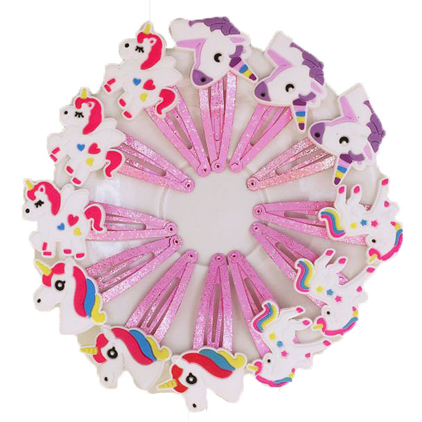 10pcs/lot 4 Colors Glitter Unicorn Hairclips Cartoon Animal Baby Hair Clips Cute Plastic Hairpins Kids Headwear Hair Accessories