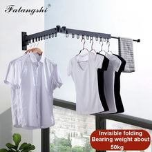 Black Folding Wall Hanger Retractable Clothes Drying Racks Hangers Storage Hotel Home Hangers for Clothes Organization WB3008