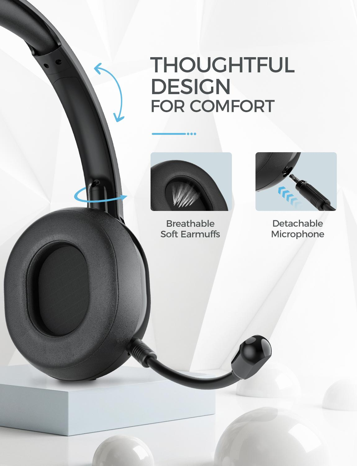 Mpow USB Headset// 3.5mm Computer Headset with Microphone Noise Cancelling Wired